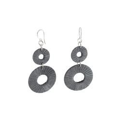 Penh Lane Rags to Riches Silk and Washer Double Drop Earrings Silver