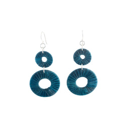 Penh Lane Rags to Riches Silk and Washer Double Drop Earrings Teal