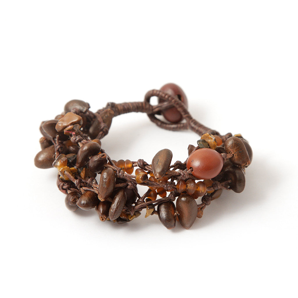 Penh lane Natural Knotted Bracelet Brown Seeds