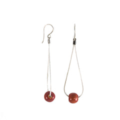 Khmer Creations Seripeap Ceramic Bead and Chain Earrings Blush Red