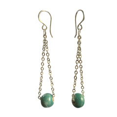 Khmer Creations Seripeap Ceramic Bead and Chain Earrings Egyptian Blue