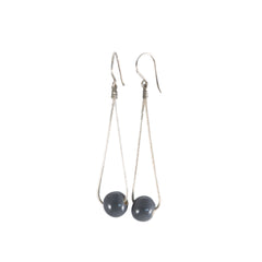 Khmer Creations Seripeap Ceramic Bead and Chain Earrings Grey Paloma