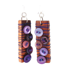 Recycled timber and Recycled button earrings - Penh Lane - Purple