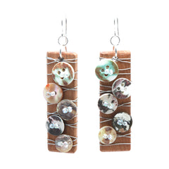Recycled timber and Recycled button earrings - Penh Lane - Shell