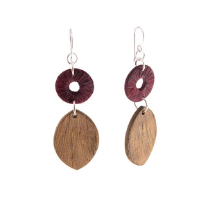 Turning Leaf Timber and Silk Earrings - Khmer Creations