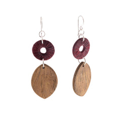 Turning Leaf Timber and Silk Earrings Earrings Khmer Creations Jewellery - Penh Lane