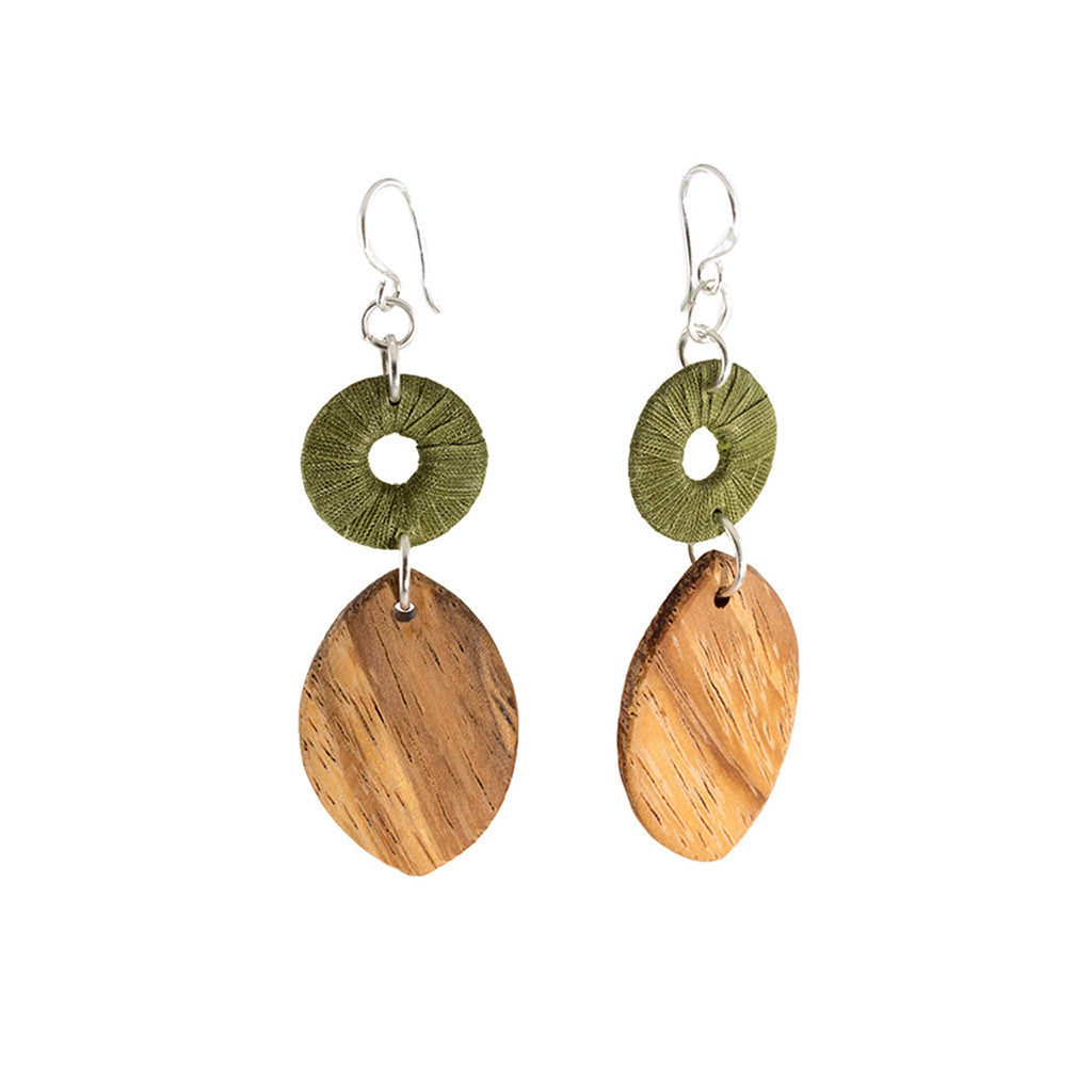 Turning Leaf Recycled Timber and Khmer Silk Earrings - Penh Lane - Green