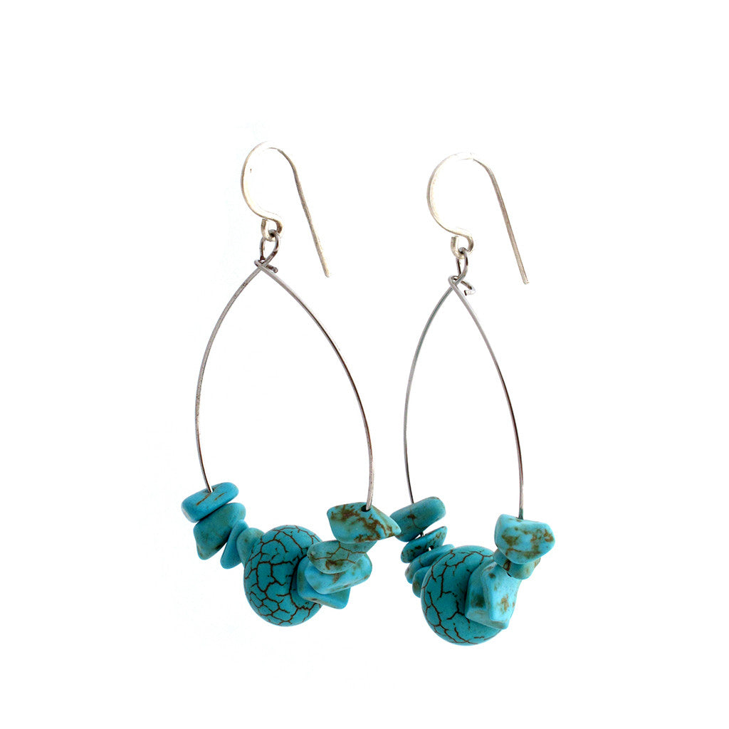 Turquoise Hoop Earrings Earrings Khmer Creations Jewellery - Penh Lane