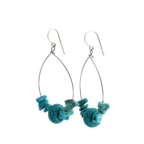 Turquoise Hoop Earrings Earrings Khmer Creations