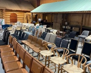 Chairs lined up in our Dawsonville, GA location.