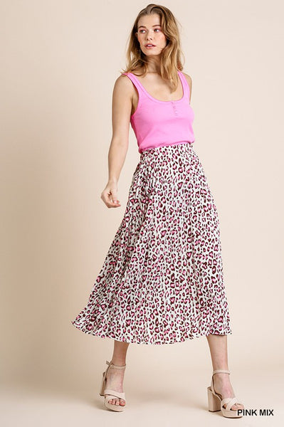 Pink Mix Pleated Skirt