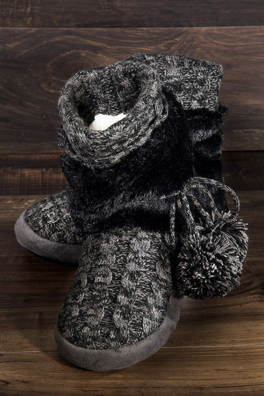 Cable Knit Slipper Boot