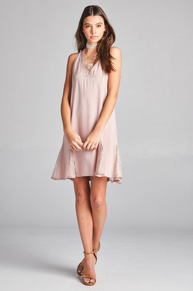 Lavendar Lace Accent Dress