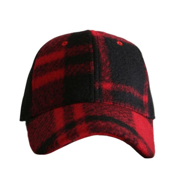 Red Plaid Flannel Hat