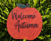 Load image into Gallery viewer, Orange Pumpkin Welcome Sign