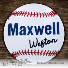 Load image into Gallery viewer, Round Baseball Name Sign