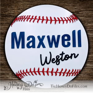 Round Baseball Name Sign