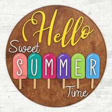 "Load image into Gallery viewer, DIY 18"" Hello Sweet Summertime Popsicle Sign Painting Kit"