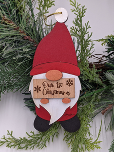 Gnome Christmas Ornament - Holding Custom Sign