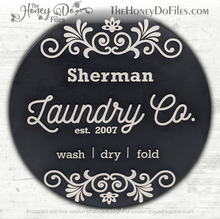 Load image into Gallery viewer, Round Decorative Laundry Room Sign
