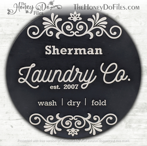 Round Decorative Laundry Room Sign