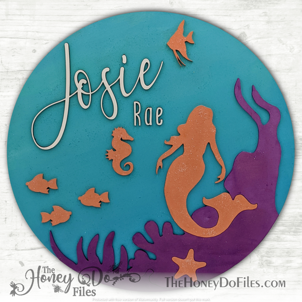 Round Mermaid Name Sign