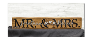 Mr. & Mrs. stained block with intwined names