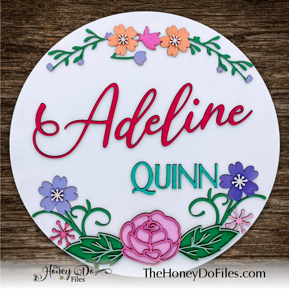 Round Floral Nursery Name Sign
