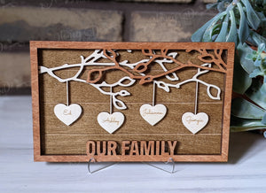 Mother's Day Family Tree Branches - Your Own Frame Message (I love Mom, We Love Grandma, Our Family, etc.) Engraved Family Members on Hearts
