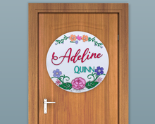 Load image into Gallery viewer, Round Floral Nursery Name Sign