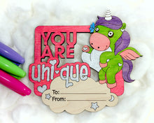 Load image into Gallery viewer, DIY Unicorn Valentine Cards - 5 pack