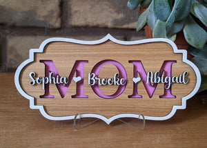 Hickory Mother's Day Plaque - Mom/Grandma/Nana, etc. with Kids/Grandkids names