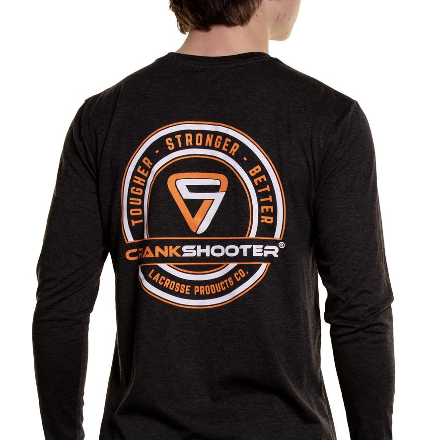 NEW! CrankShooter® Lacrosse Products Long Sleeve T Shirt, Black, Blend Material - Made in the USA - FREE SHIPPING