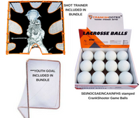 LAX PRO Jr Bundle Starter Kit Includes (Youth 6x6x7 Goal + 4mm Net + Shot Trainer + 1 DZ White Game Balls)