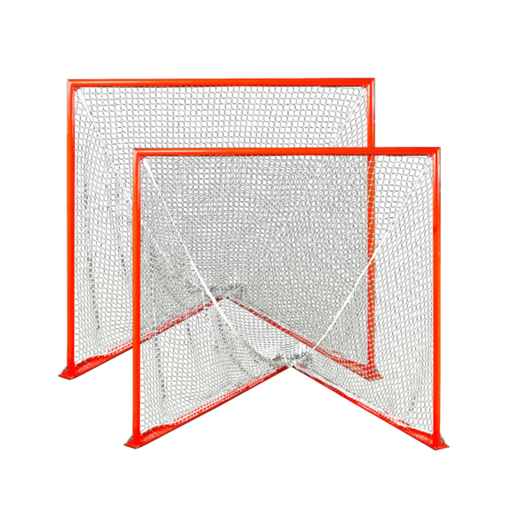 Pair Of College/High School Game Goals - Flat Base - With Choice of 6mm or 7mm White Nets - 118 lbs each - Free Shipping