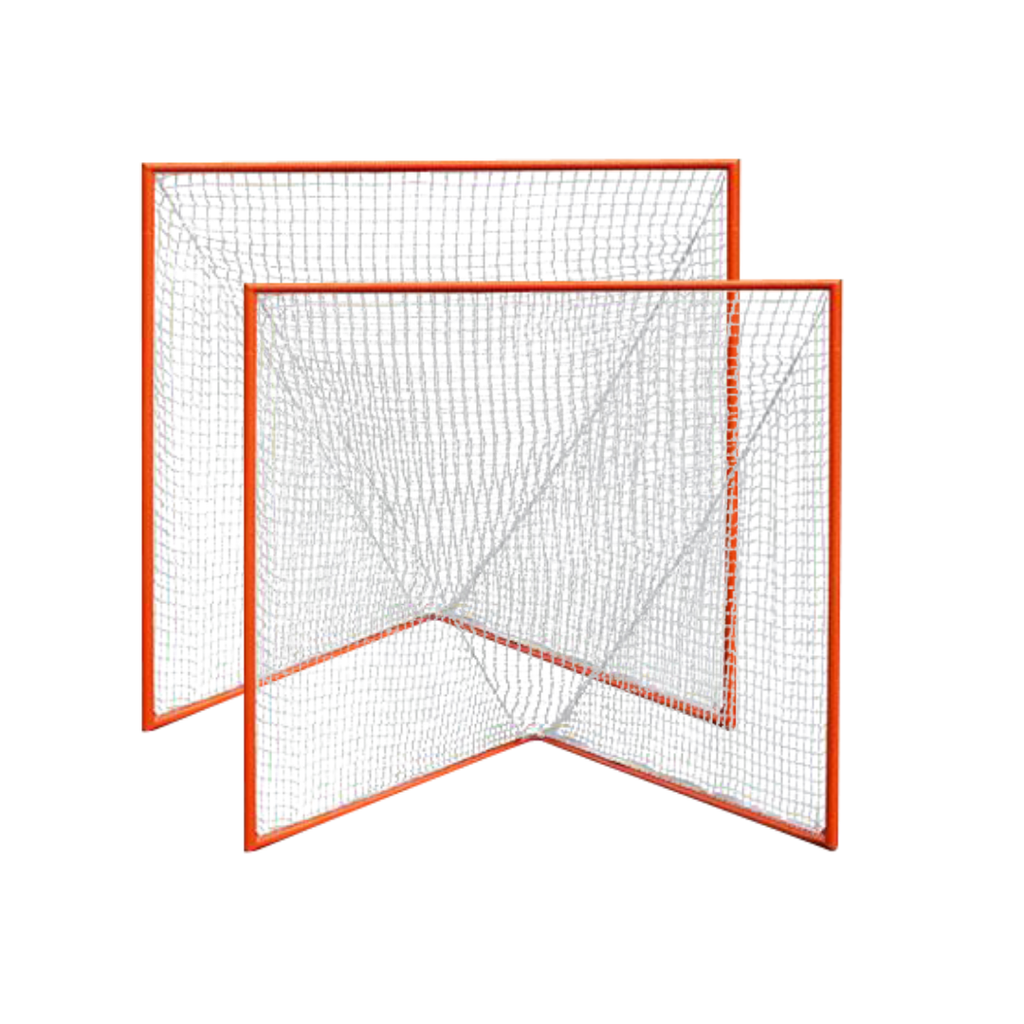 Pair of High School Practice Goals 6'x6'x7' by CrankShooter® w/lacing rails, 59 lbs each - INCLUDES 2 x 6MM white nets - Free Shipping
