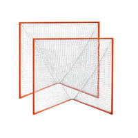 Pair of High School Practice Goals 6'x6'x7' by CrankShooter® w/lacing rails, 59 lbs each - INCLUDES 2 x 6MM BLACK nets - Free Shipping