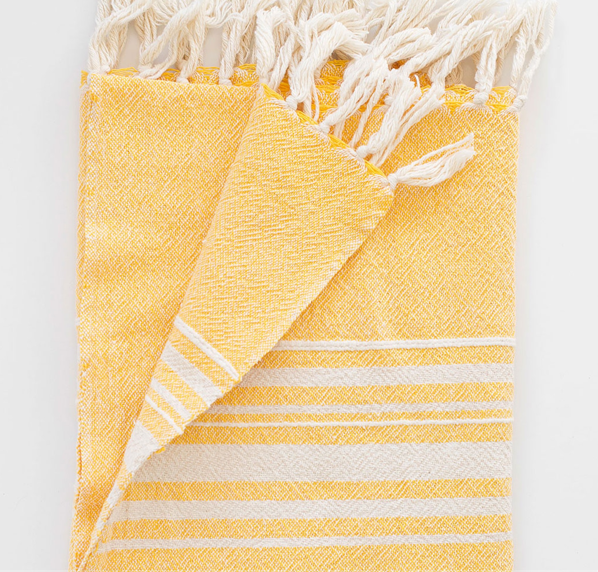 Contemporary Towel With Stripes On Ends Yellow Scat Cat Co