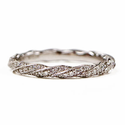 14K White Gold Diamond Twist Band