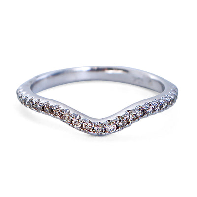 10K White Gold Curved Band