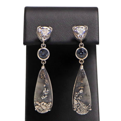 14KW White Zirconia / Blue Spinel Silver Cobalt Earrings