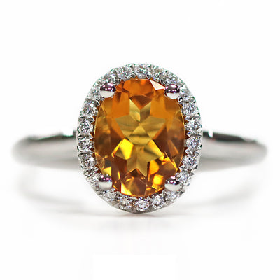14K White Gold Diamond Oval Citrine Ring