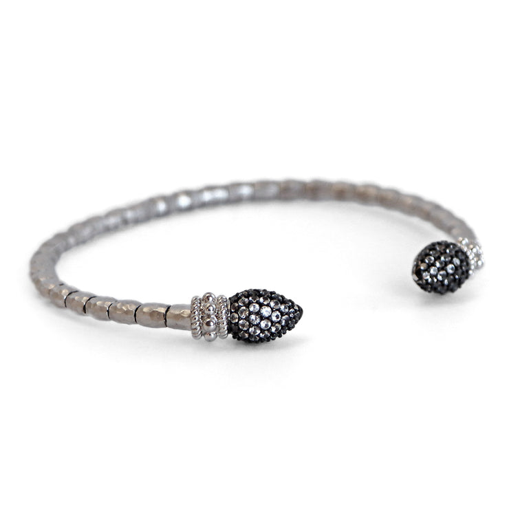 Sterling Silver Stainless White Sapphire Bracelet