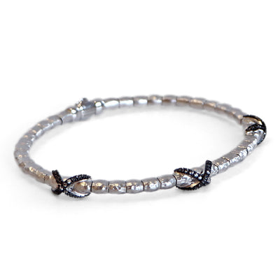 Sterling Silver Stainless White Sapphire Bangle