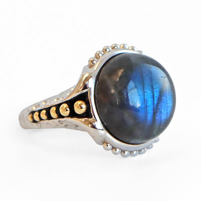 Sterling Silver 14KY Labradorite Cabochon Ring