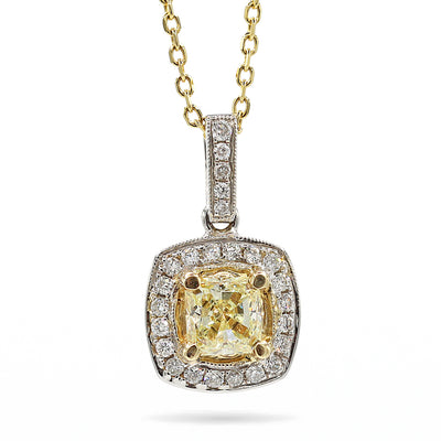 18K Two Tone Fancy Yellow Radiant Diamond Pendant