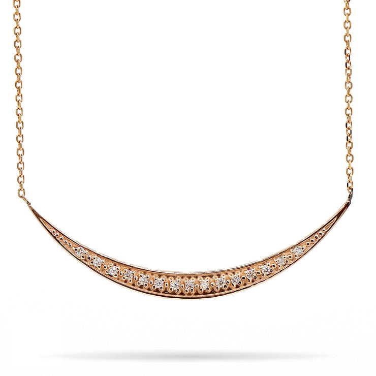 14K Rose Gold Crescent Moon Diamond Necklace