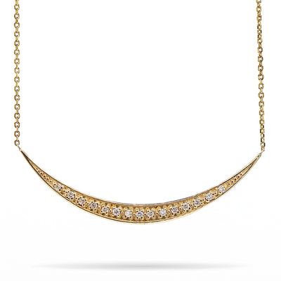14K Yellow Gold Crescent Moon Diamond Necklace