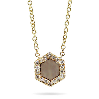 14K Yellow Black Mother of Pearl Diamond Halo Pendant