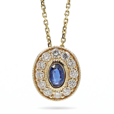 14K Yellow Oval Blue Sapphire & Diamond Pendant